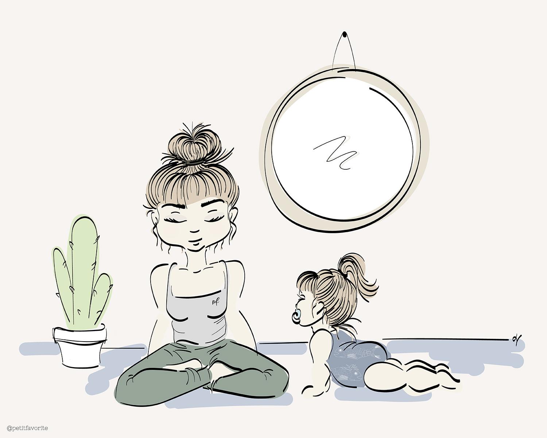 illustration maman yogi et bébé