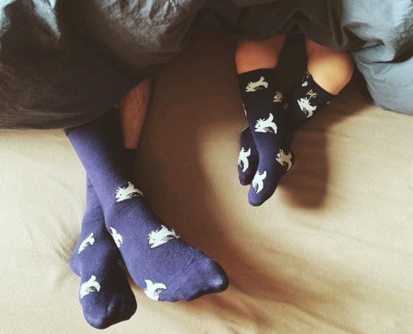 chaussettes pieds papa et fille
